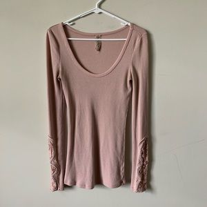 Free People Dusty Rose crochet lace thermal top